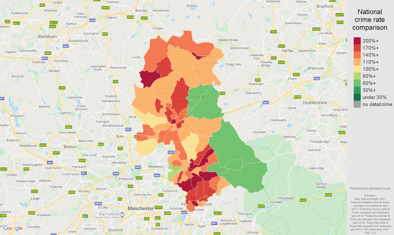 Oldham violent crime rate comparison map