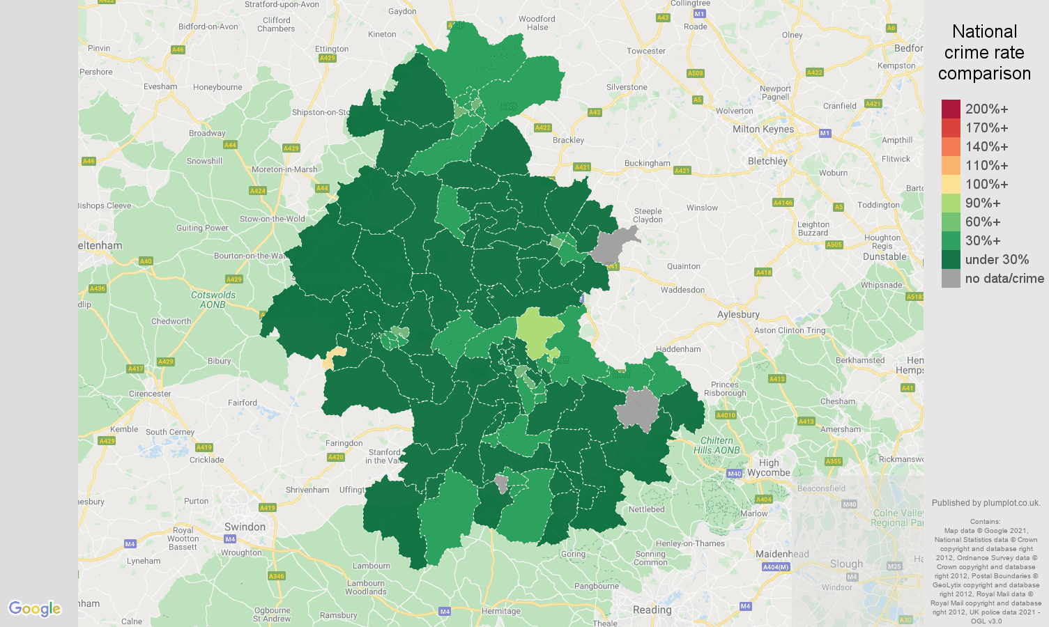Oxford antisocial behaviour crime rate comparison map