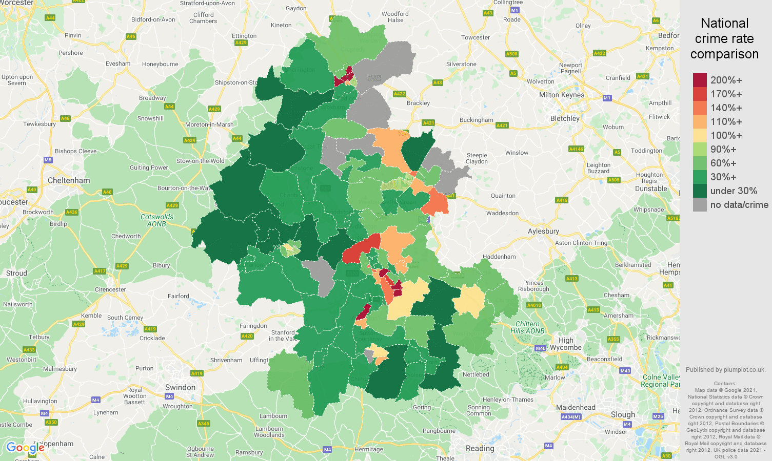Oxford drugs crime rate comparison map