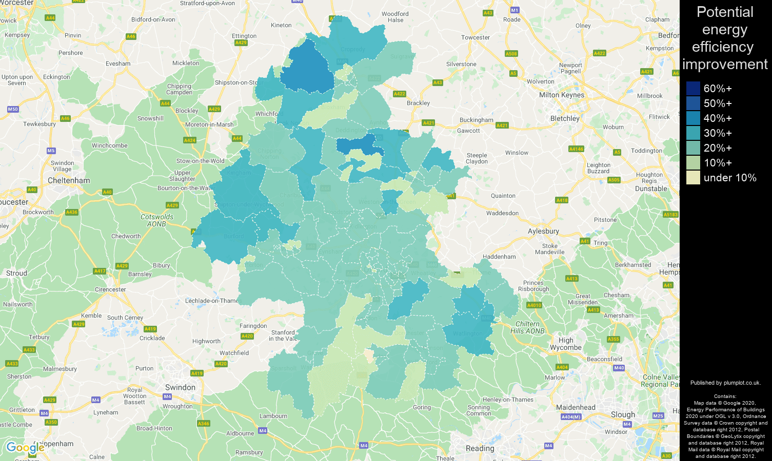 Oxford map of potential energy efficiency improvement of houses