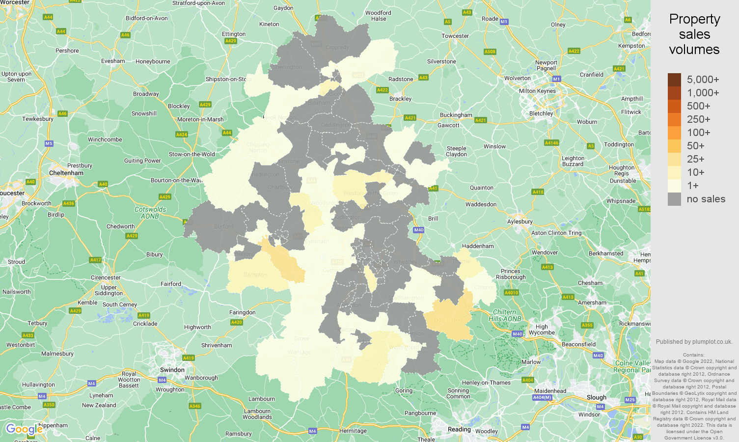 Oxford map of sales of new properties