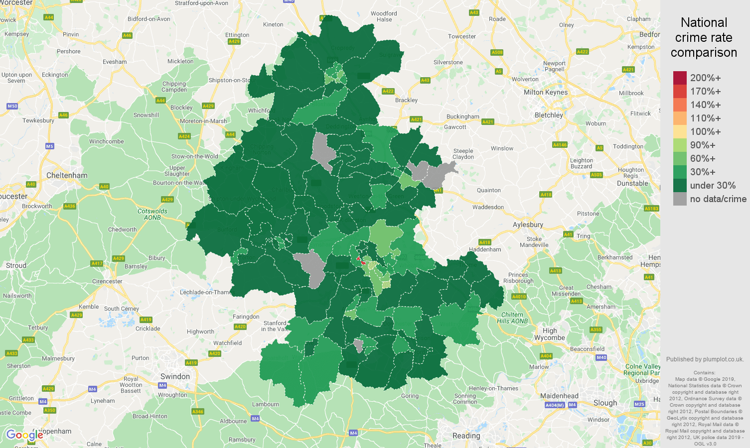 Oxford public order crime rate comparison map