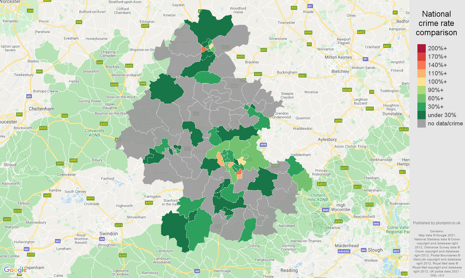 Oxford robbery crime rate comparison map