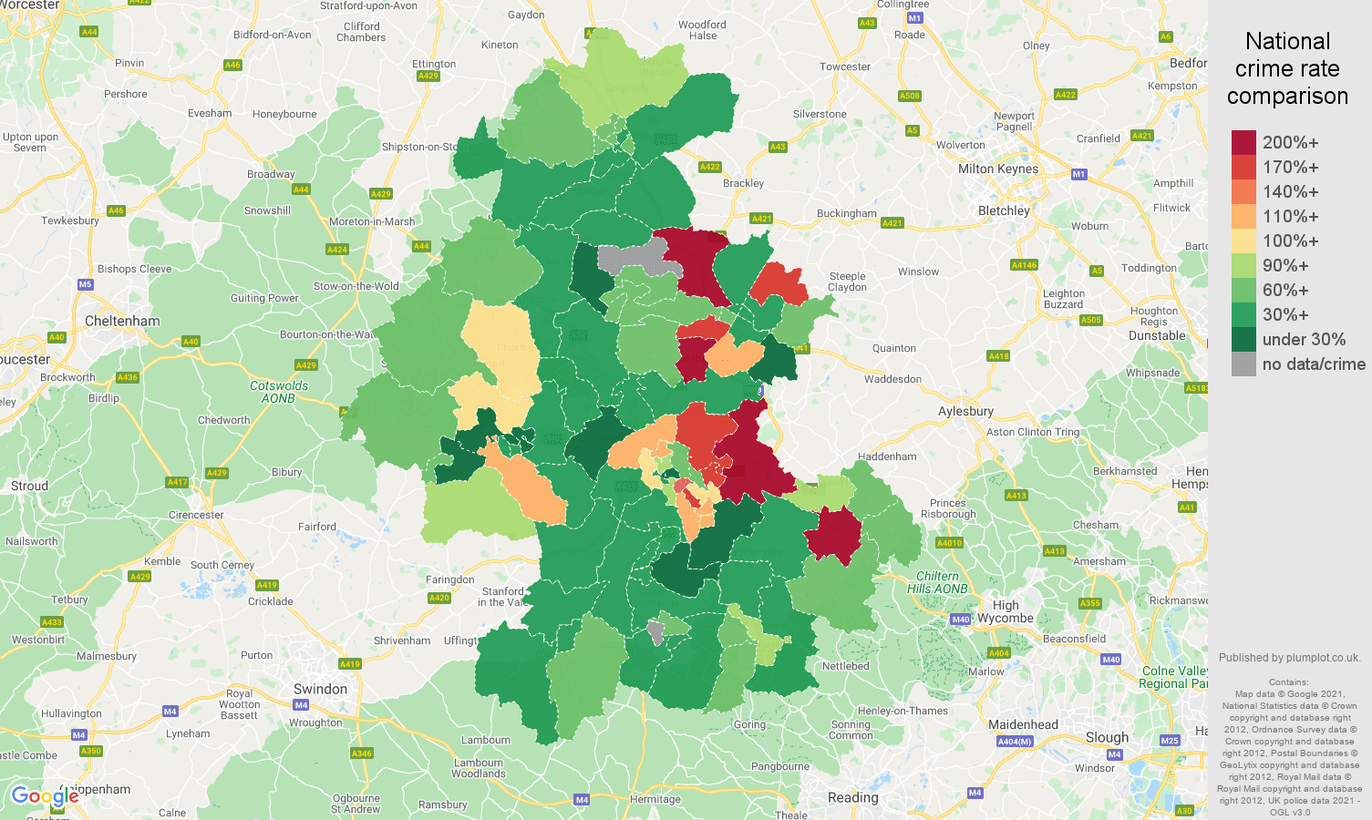 Oxford vehicle crime rate comparison map