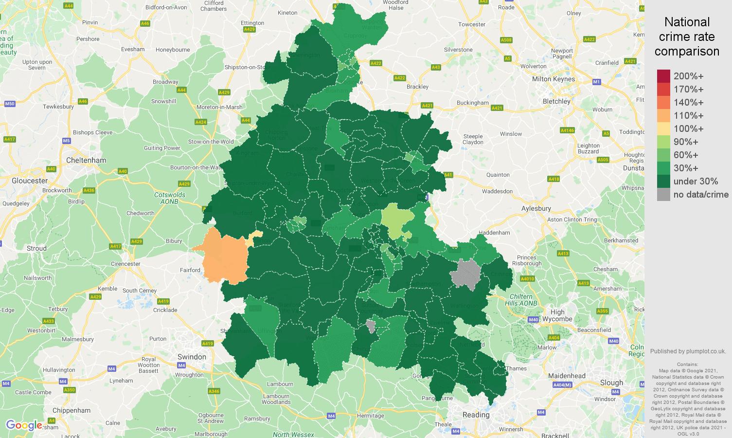 Oxfordshire antisocial behaviour crime rate comparison map