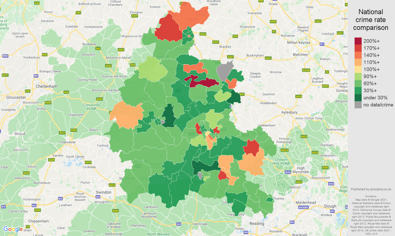 Oxfordshire burglary crime rate comparison map