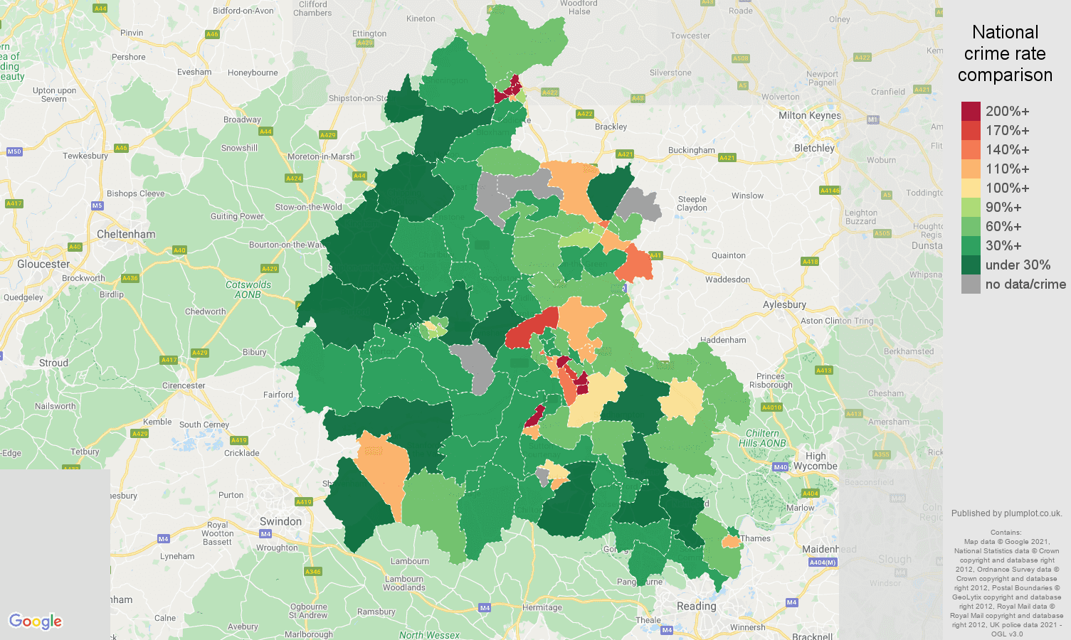 Oxfordshire drugs crime rate comparison map