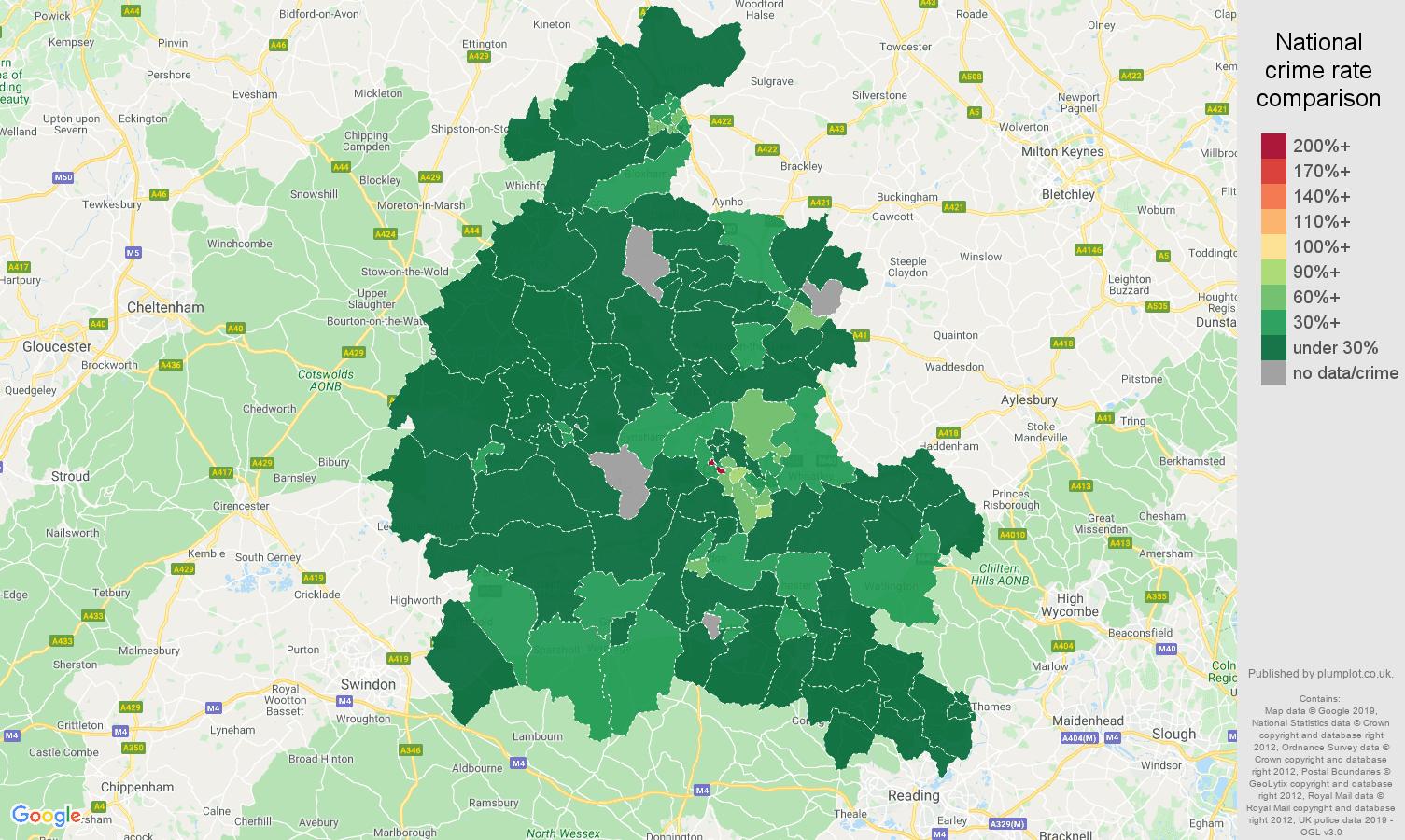 Oxfordshire public order crime rate comparison map
