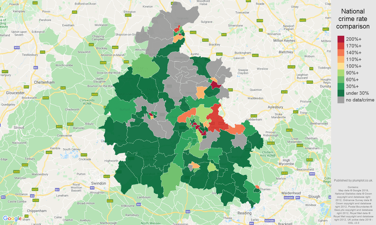 Oxfordshire shoplifting crime rate comparison map