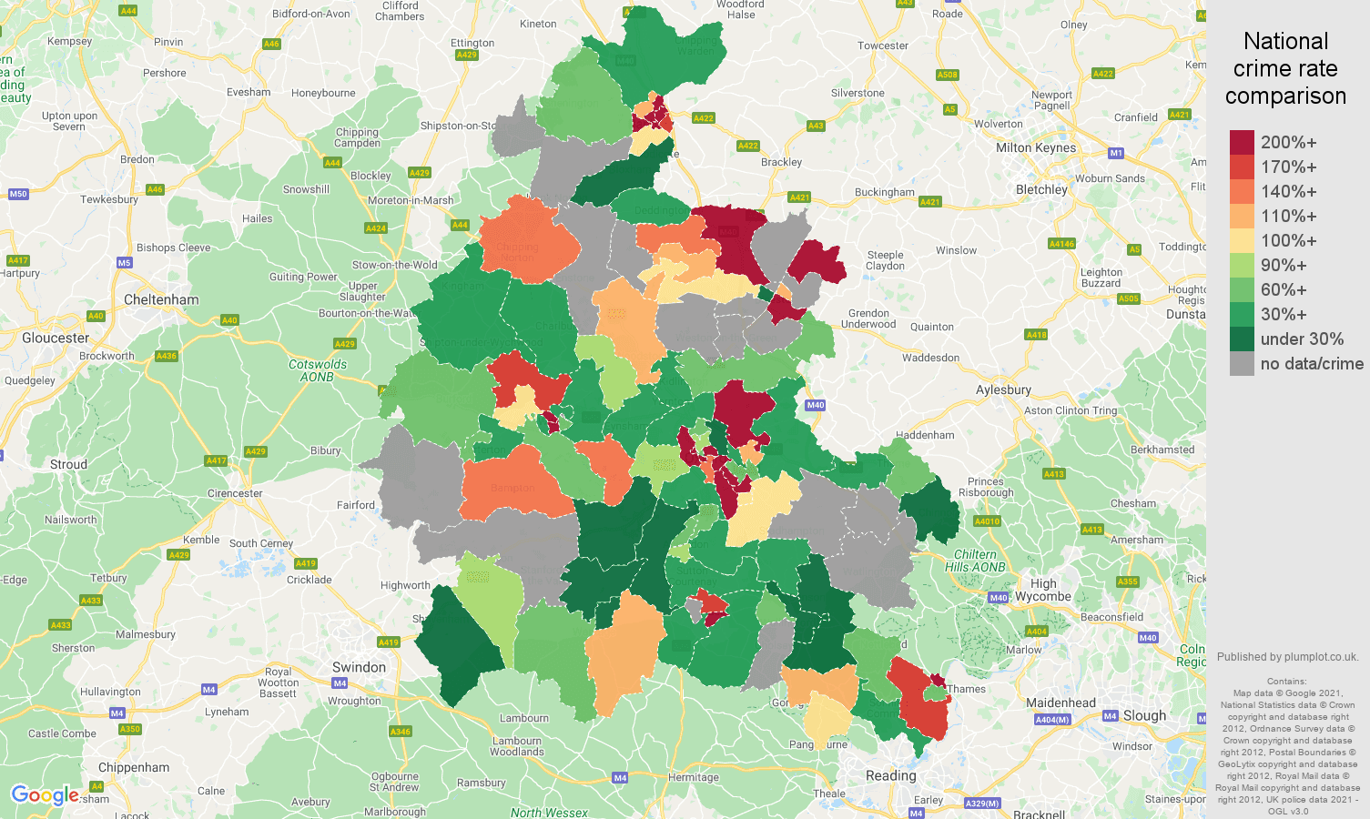 Oxfordshire theft from the person crime rate comparison map