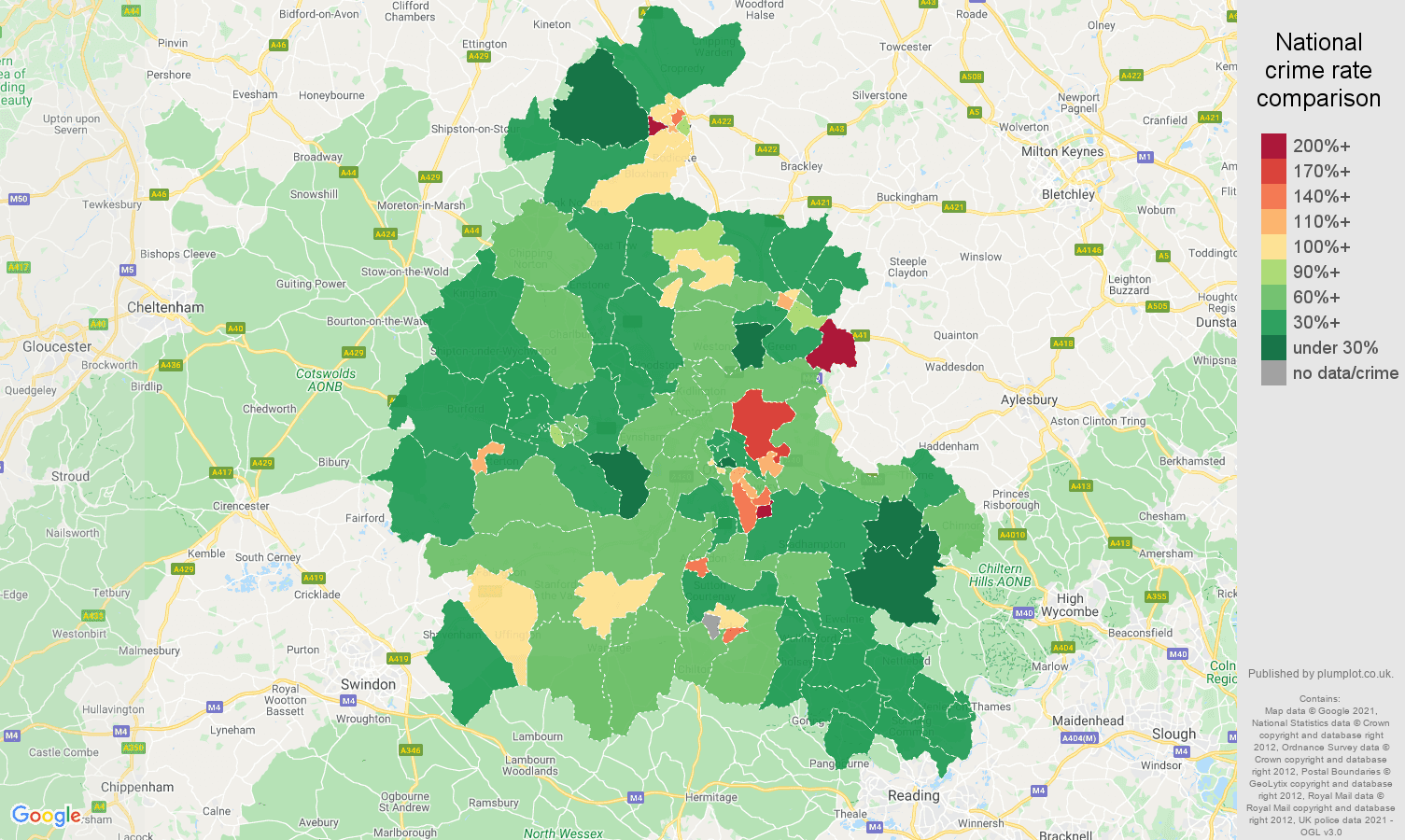 Oxfordshire violent crime rate comparison map