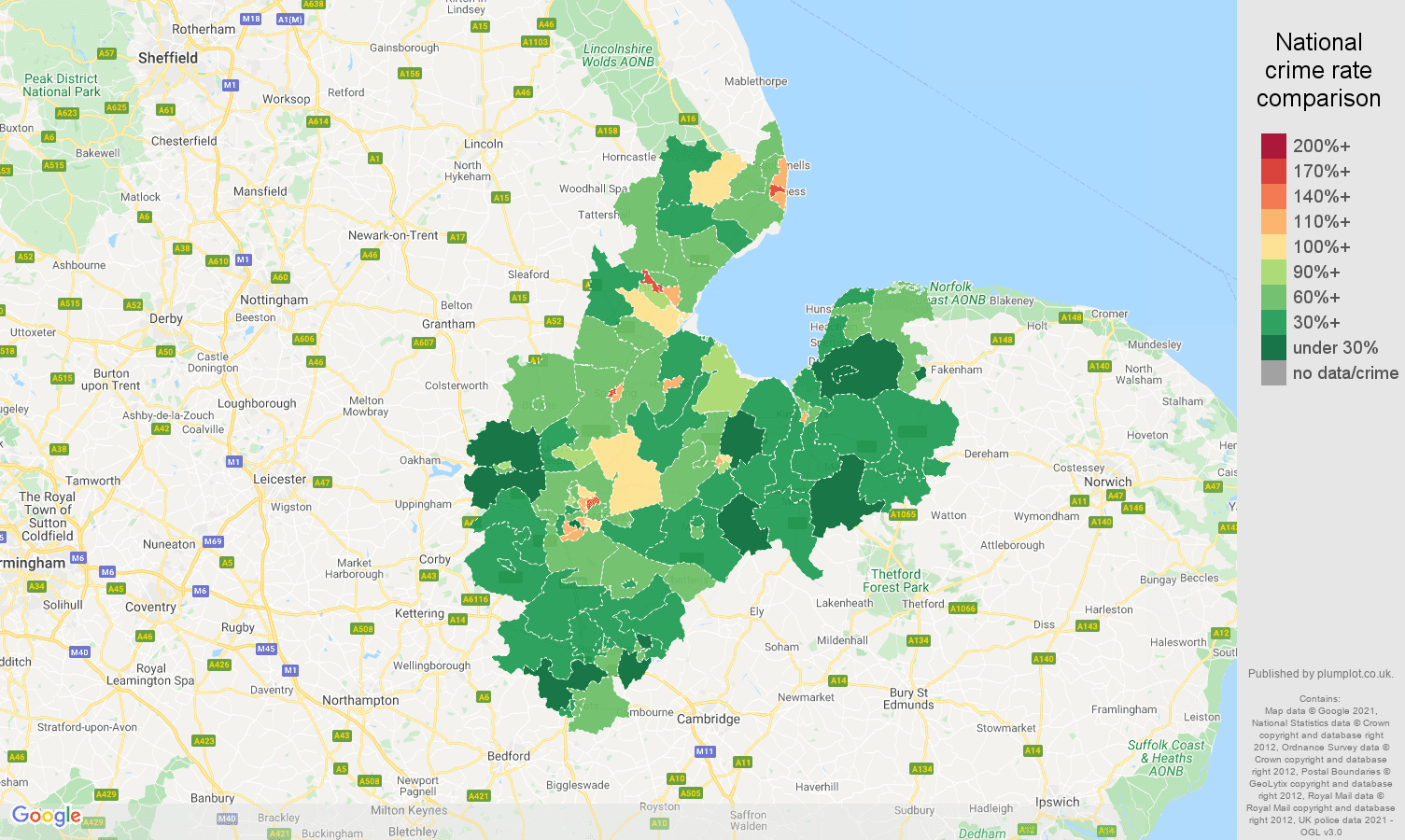 Peterborough antisocial behaviour crime rate comparison map