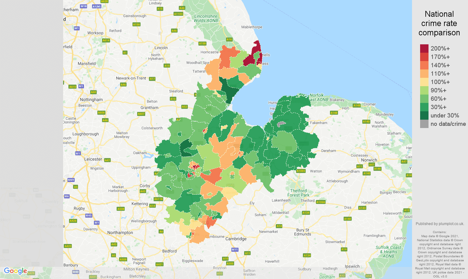 Peterborough burglary crime rate comparison map