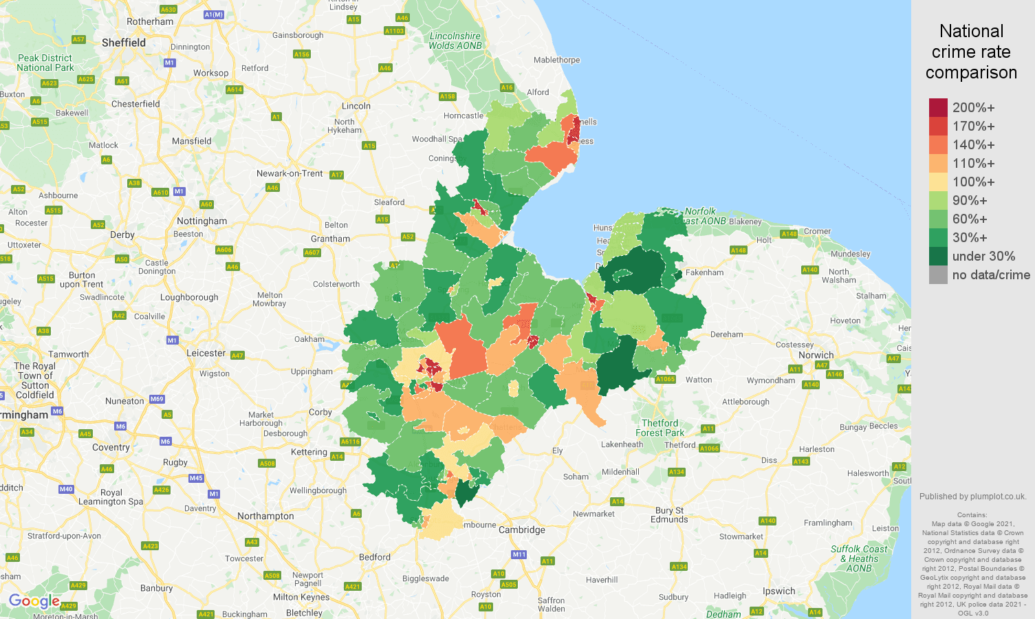 Peterborough criminal damage and arson crime rate comparison map
