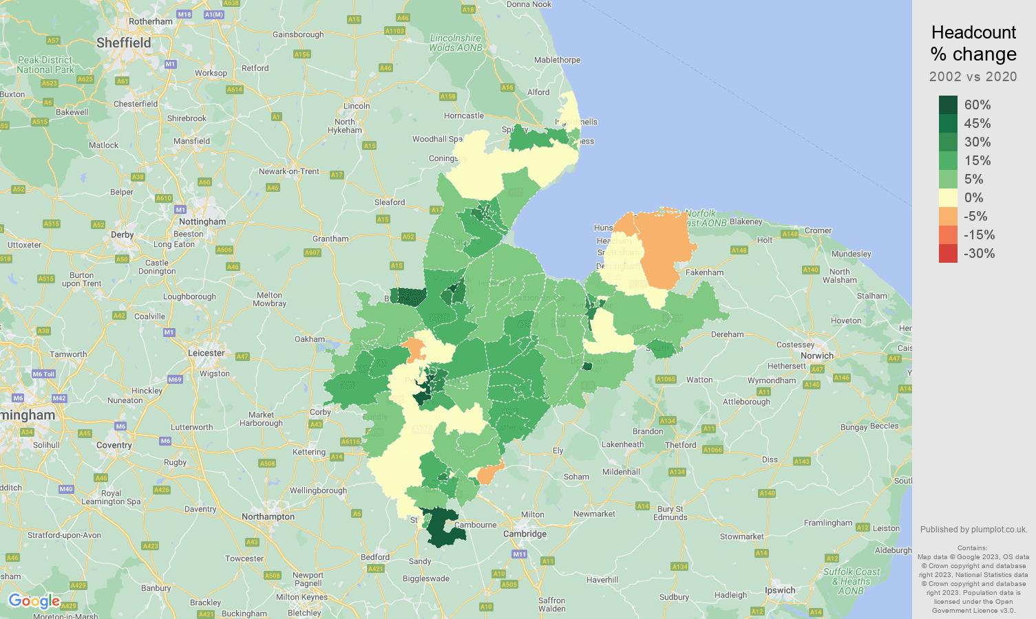 Peterborough headcount change map