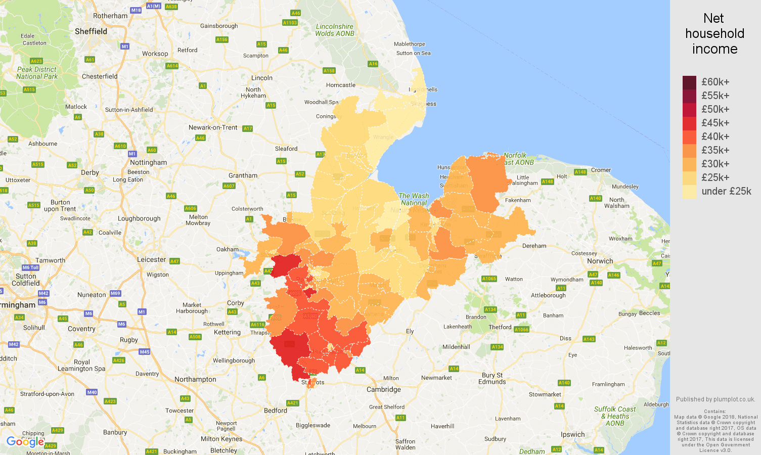 Peterborough net household income map