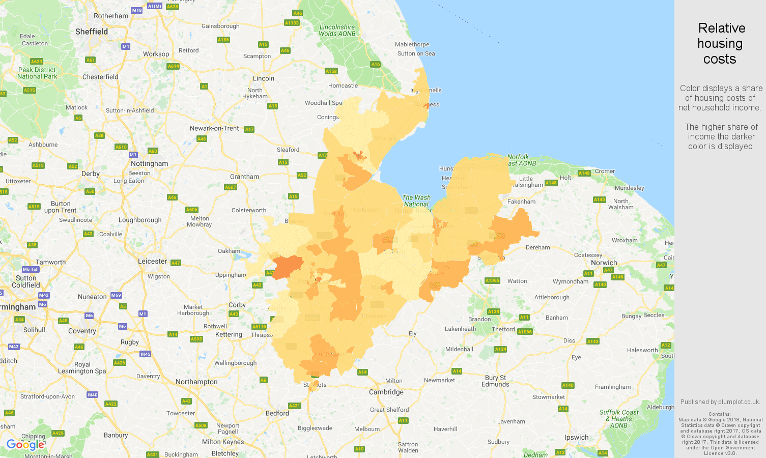 Peterborough relative housing costs map