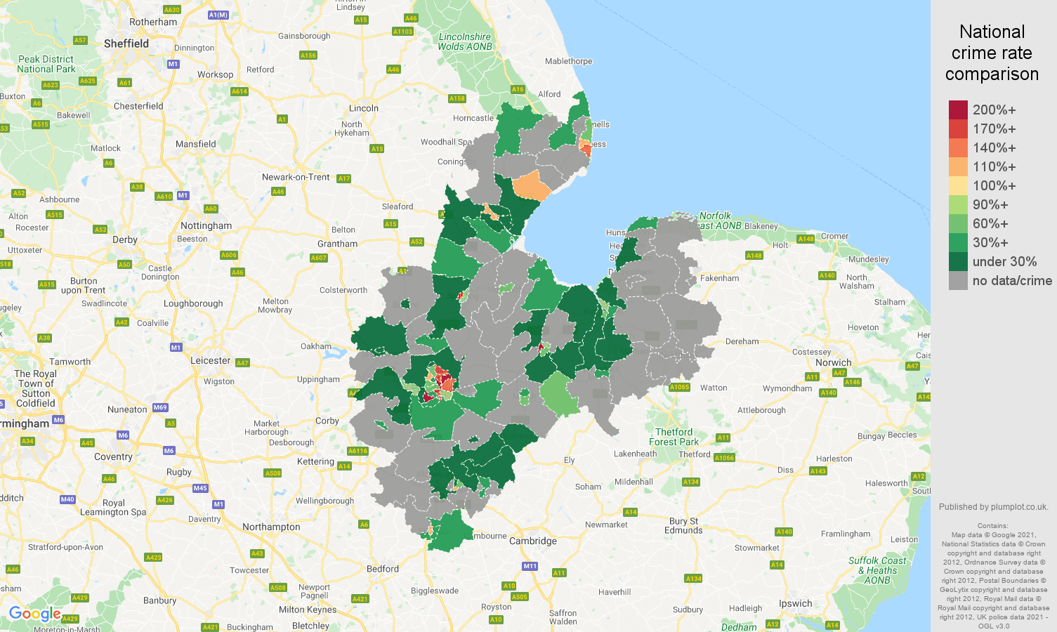 Peterborough robbery crime rate comparison map