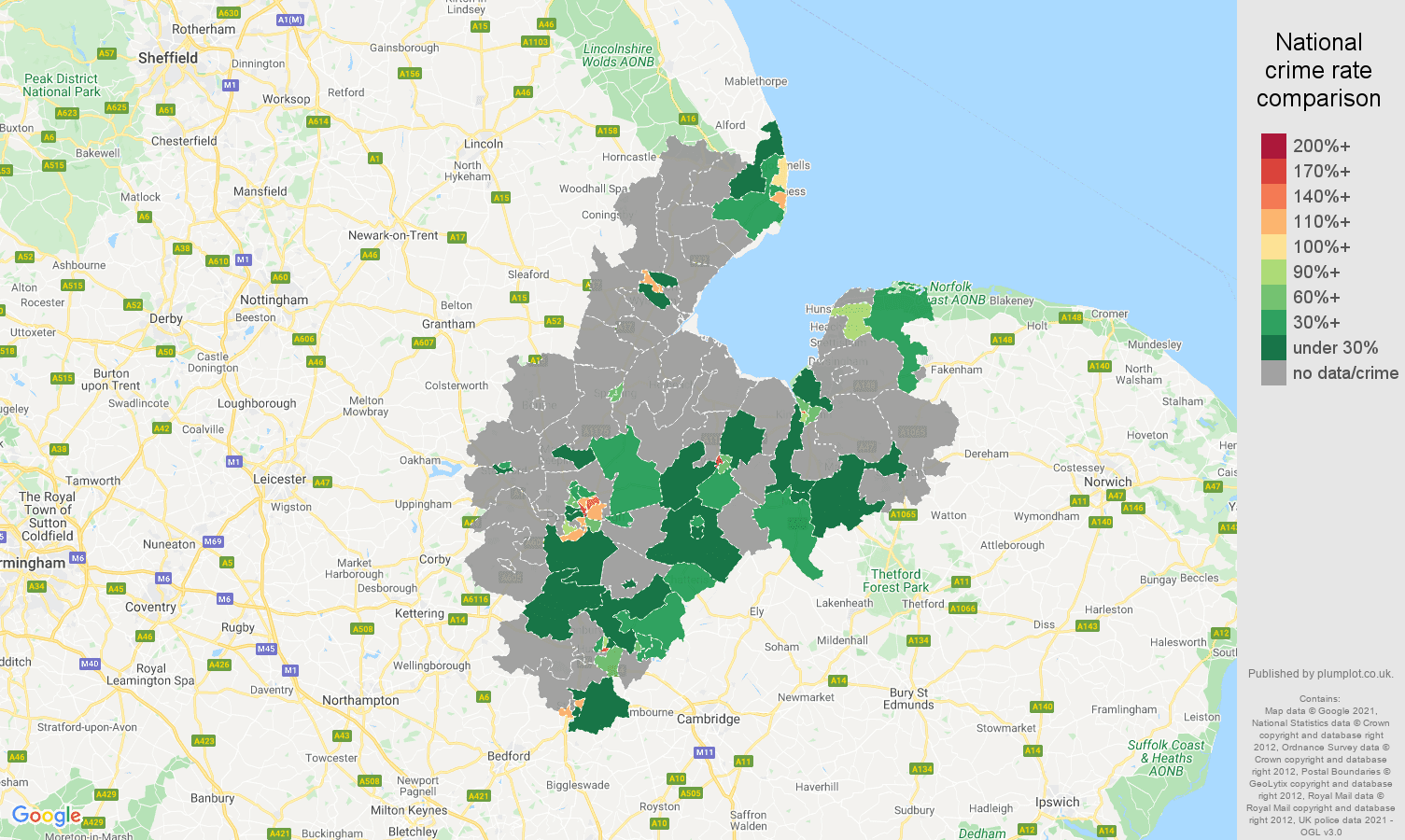 Peterborough theft from the person crime rate comparison map