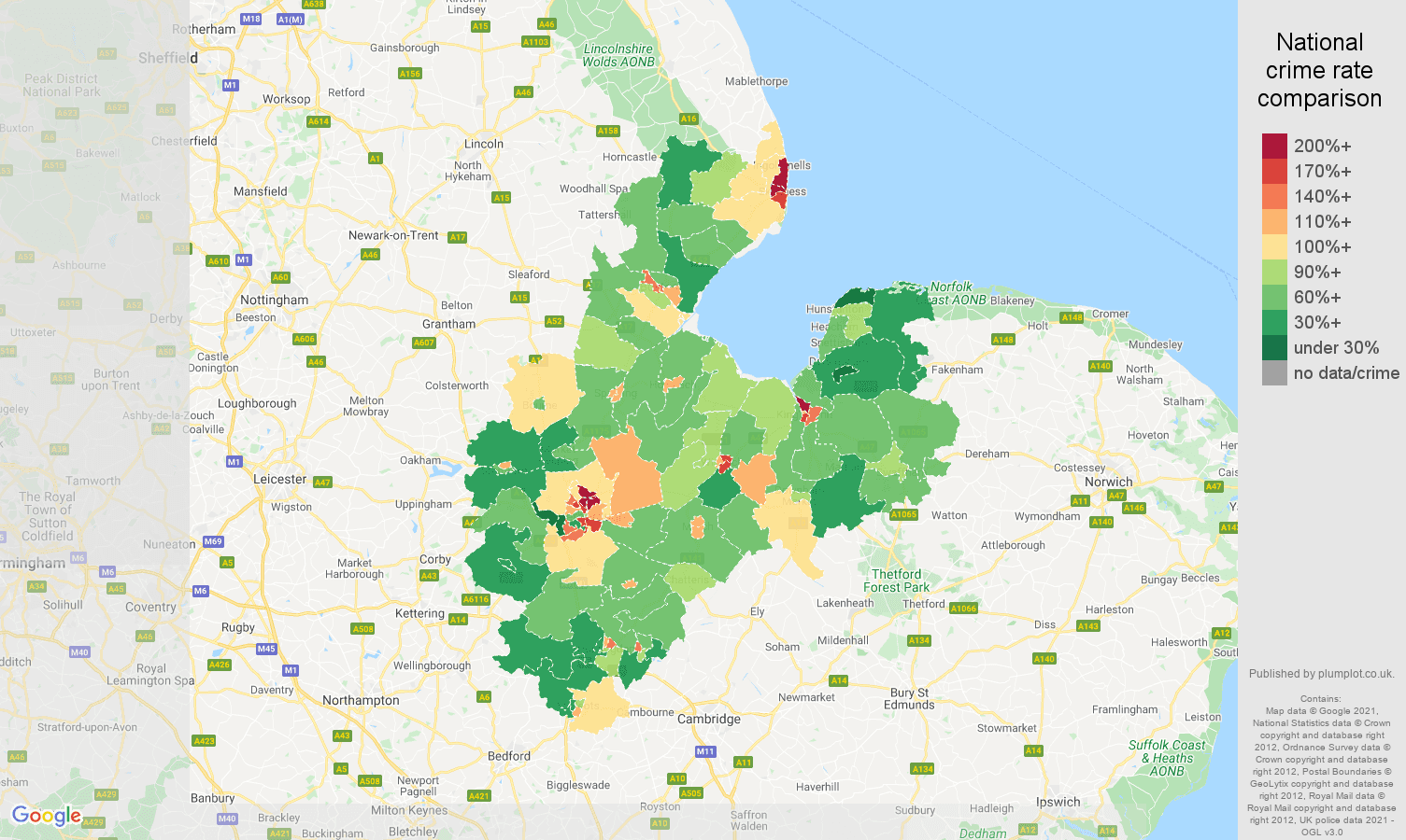 Peterborough violent crime rate comparison map