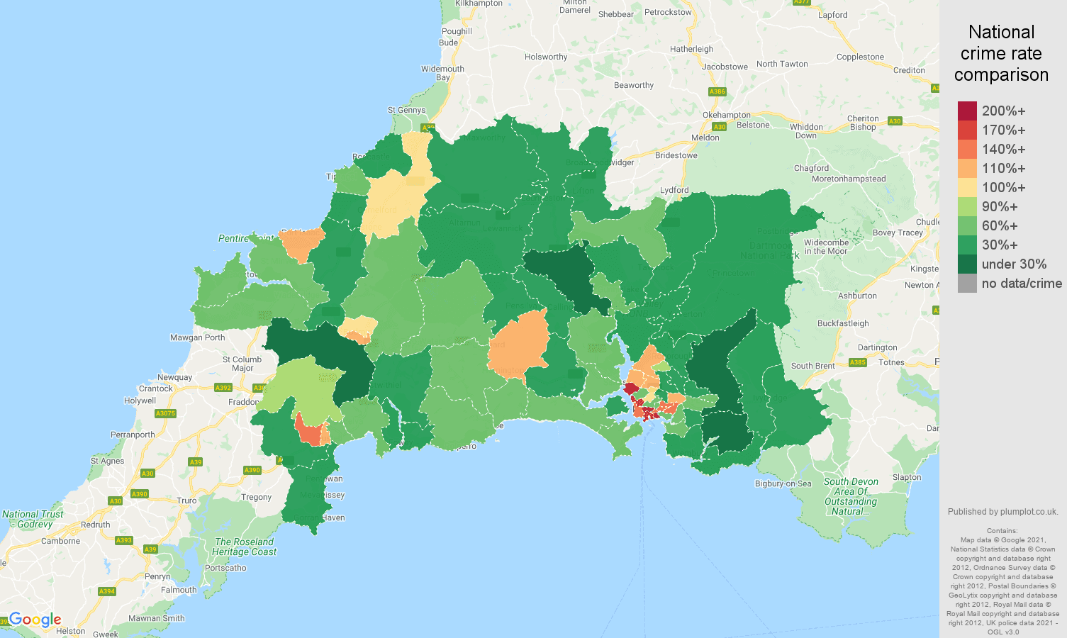 Plymouth antisocial behaviour crime rate comparison map