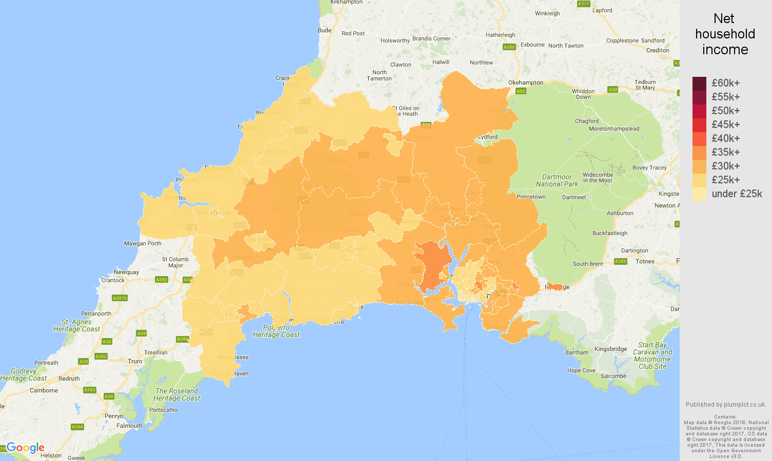 Plymouth net household income map