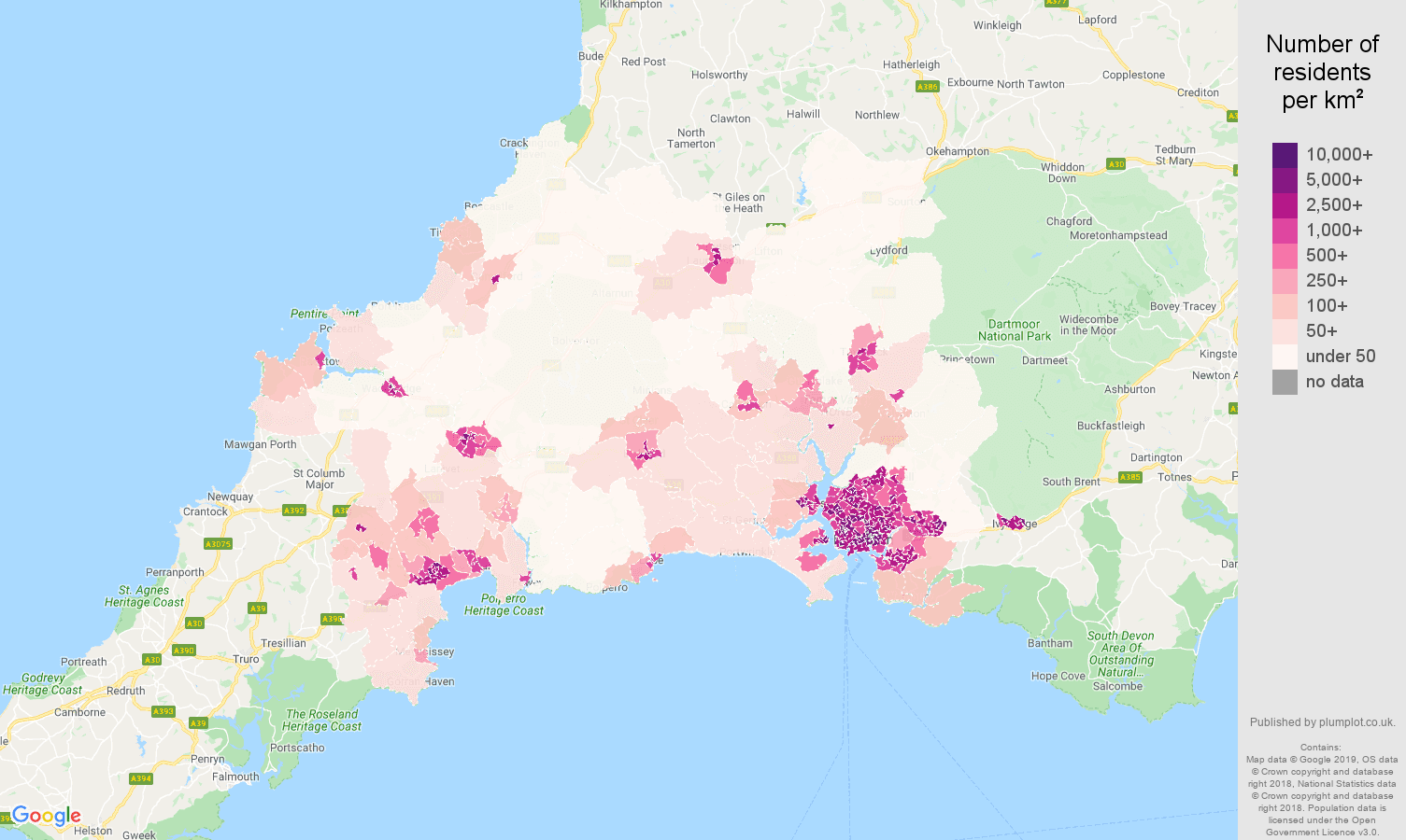 Plymouth population density map
