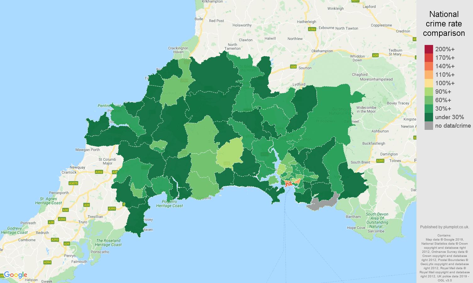 Plymouth public order crime rate comparison map