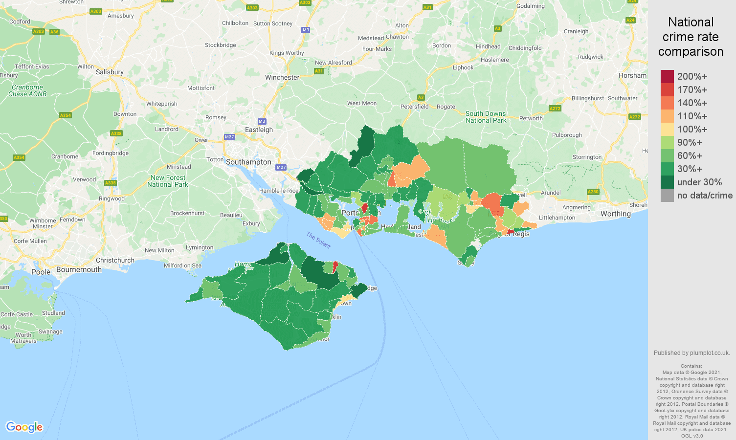 Portsmouth antisocial behaviour crime rate comparison map