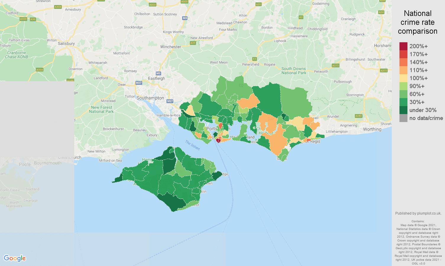 Portsmouth burglary crime rate comparison map
