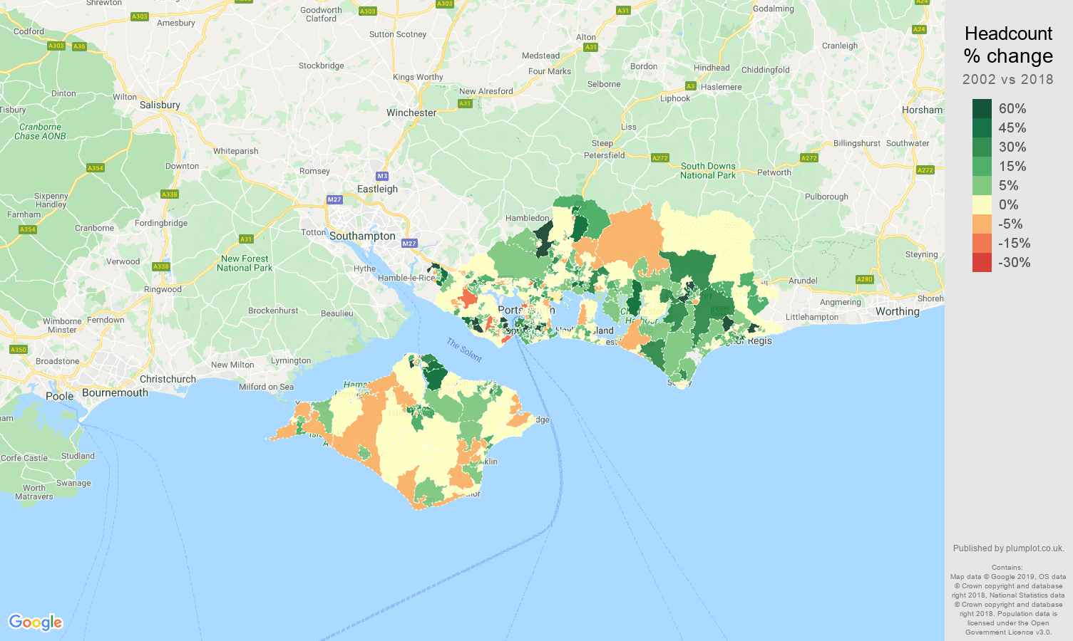 Portsmouth headcount change map