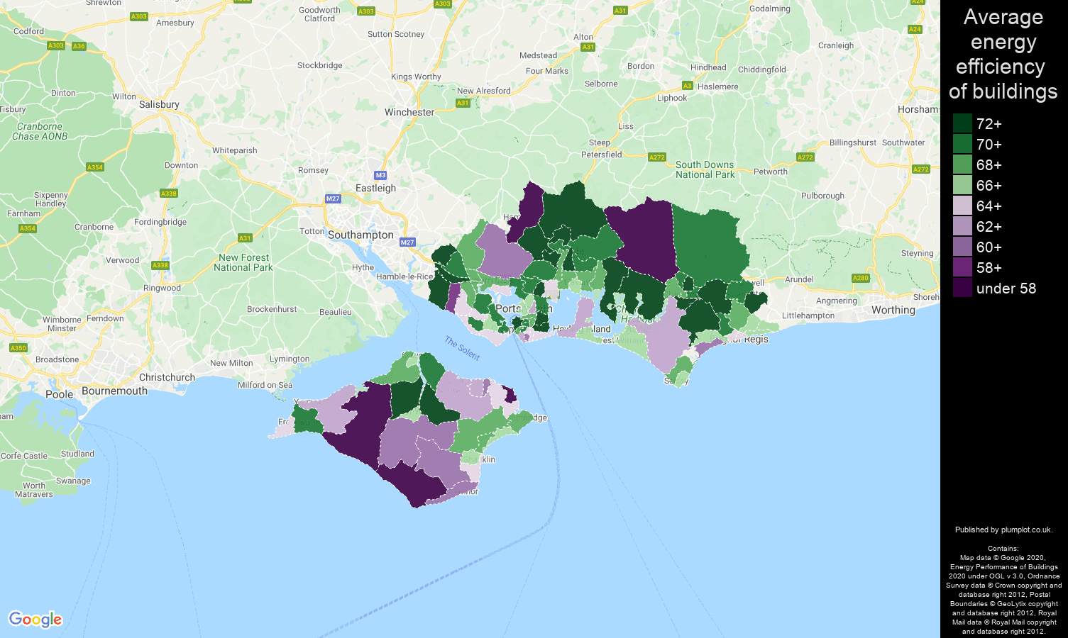 Portsmouth map of energy efficiency of flats