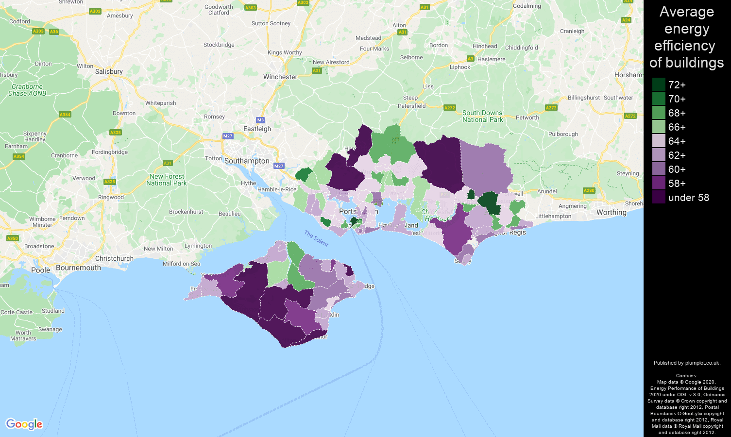 Portsmouth map of energy efficiency of properties