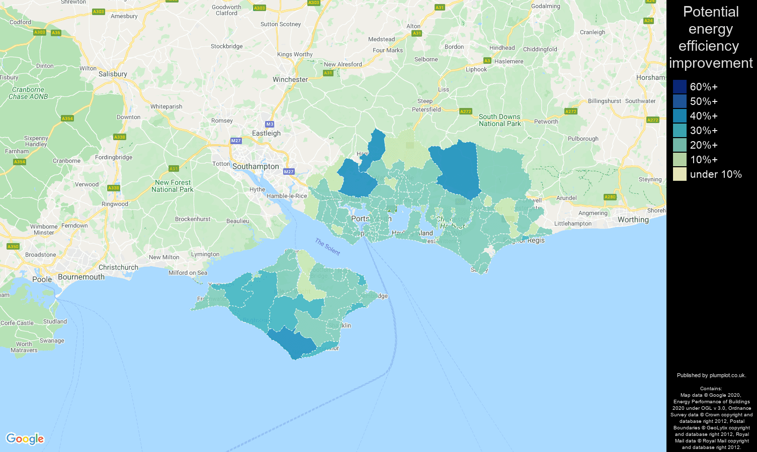 Portsmouth map of potential energy efficiency improvement of houses