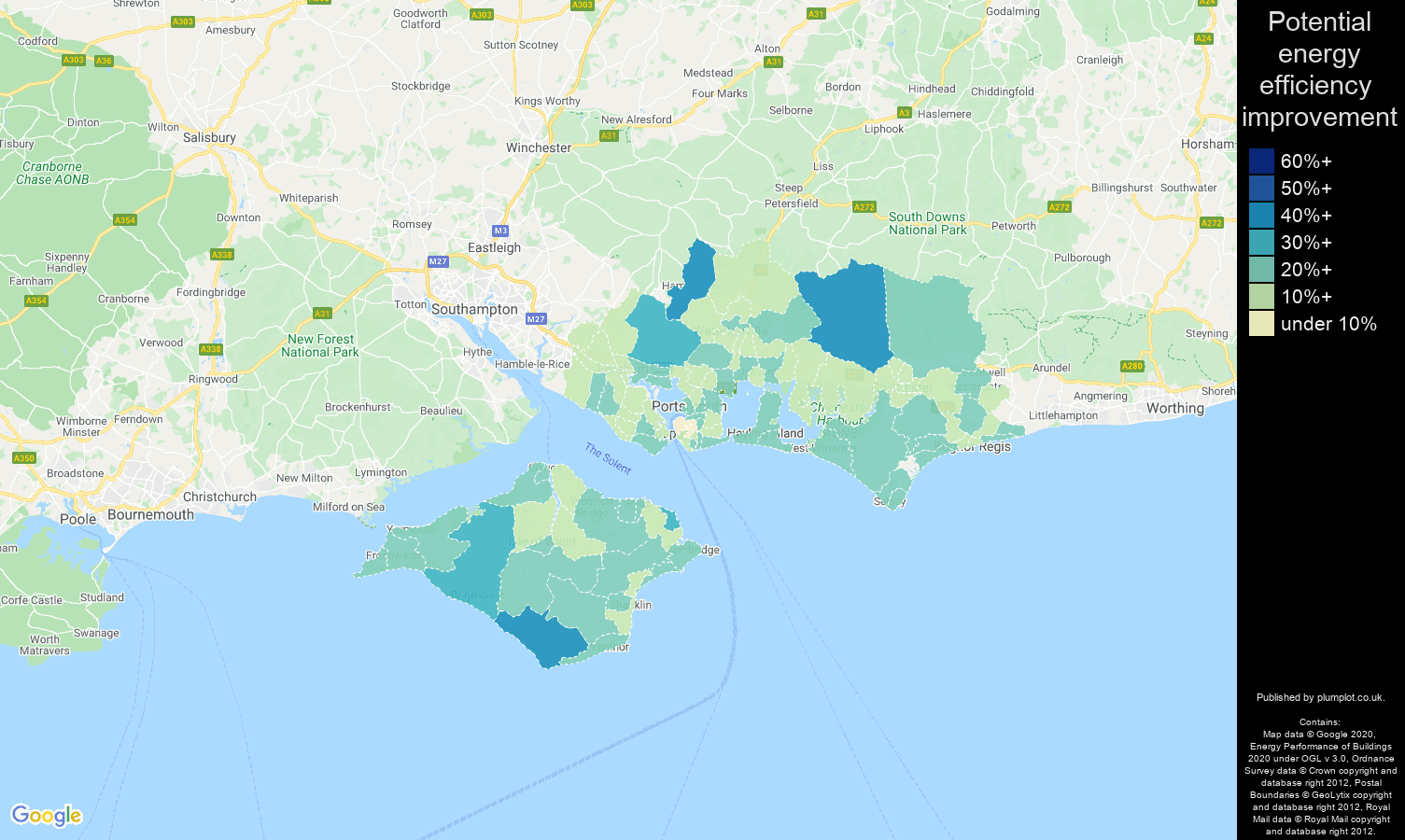 Portsmouth map of potential energy efficiency improvement of properties