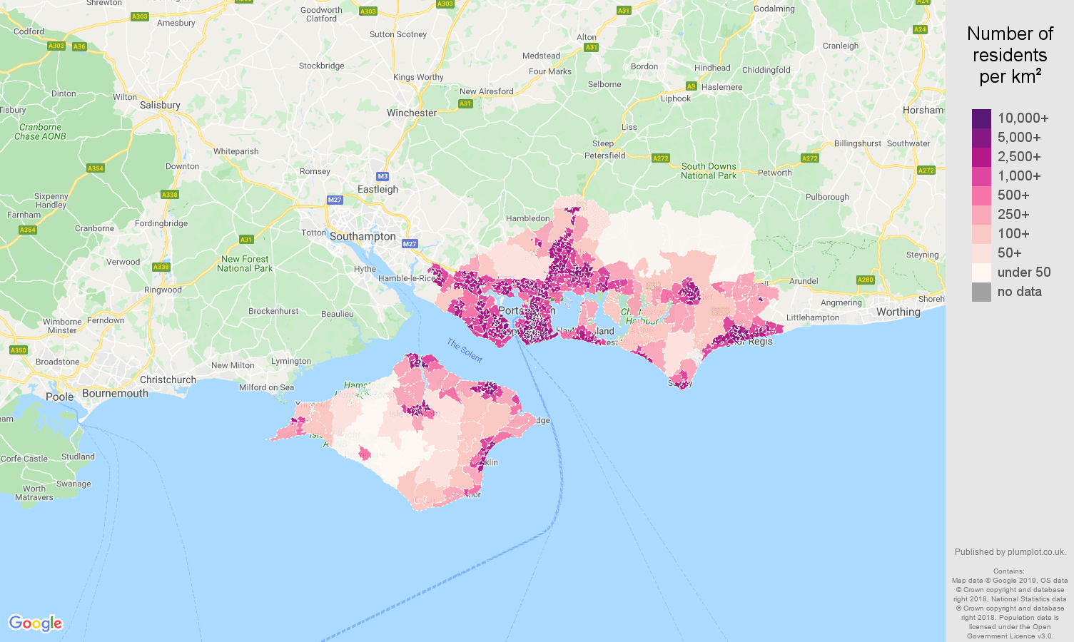 Portsmouth population density map