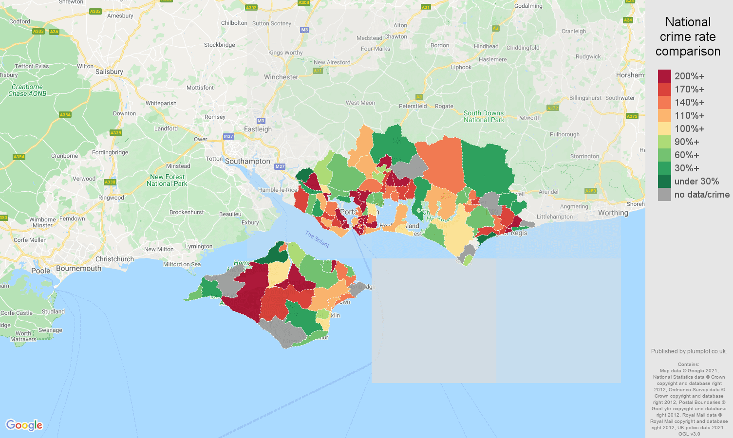 Portsmouth possession of weapons crime rate comparison map