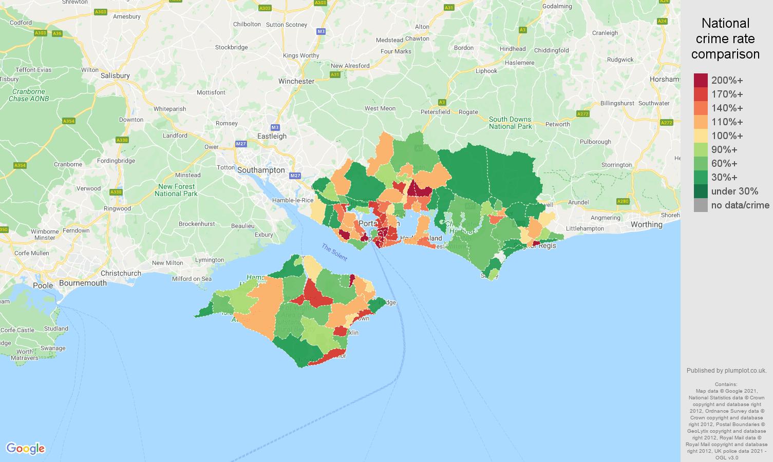Portsmouth public order crime rate comparison map