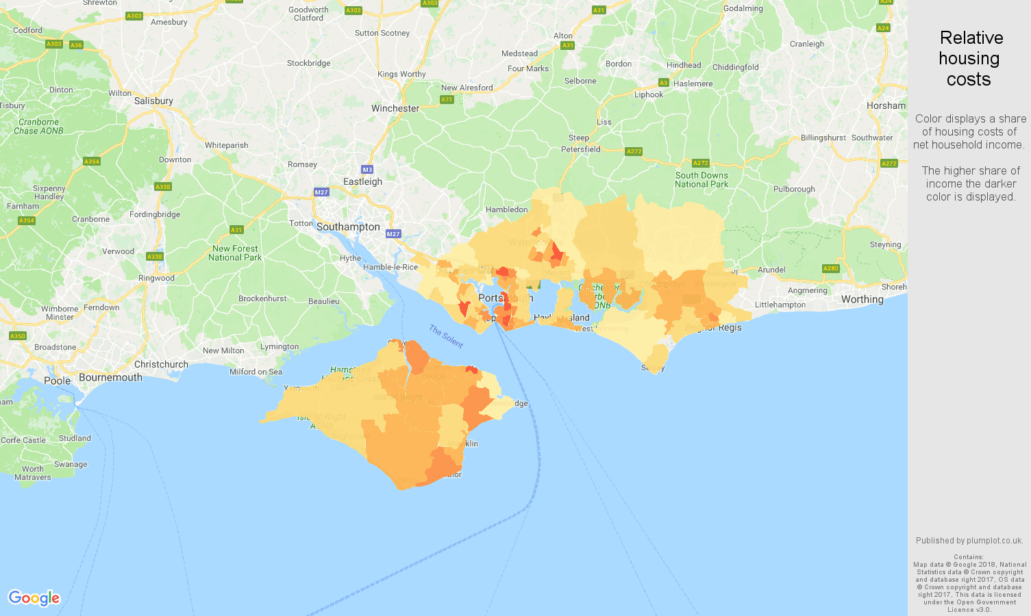Portsmouth relative housing costs map