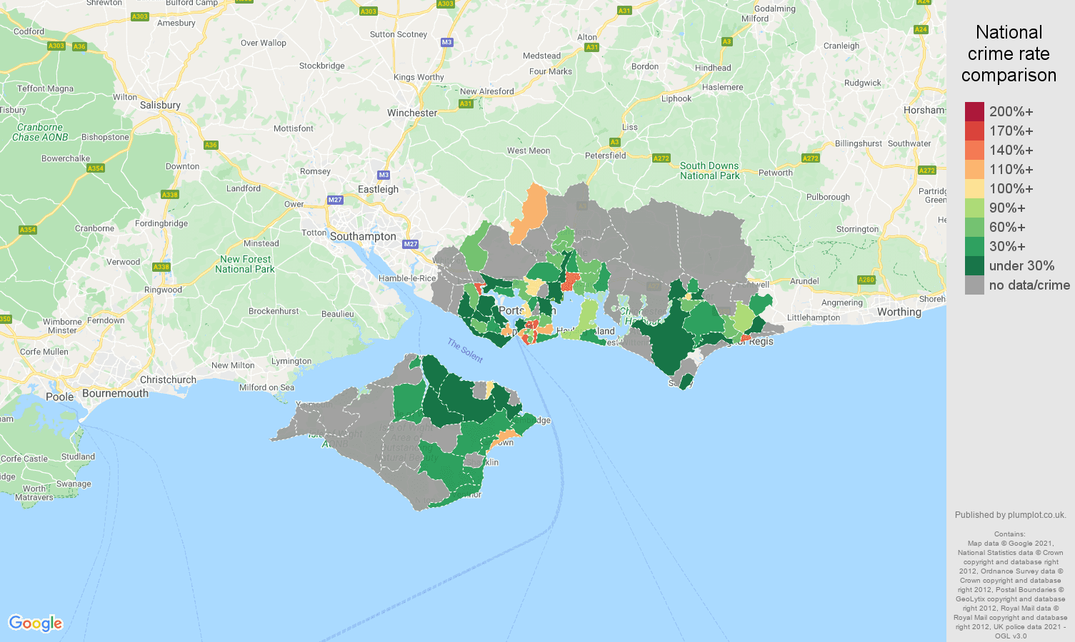 Portsmouth theft from the person crime rate comparison map