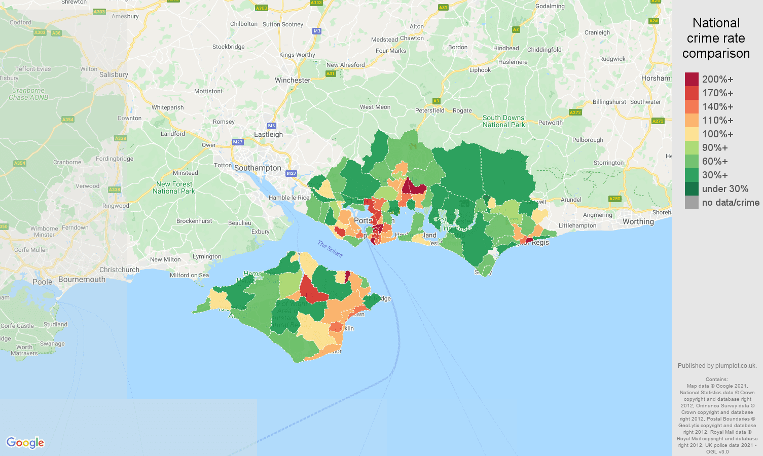 Map Of England Portsmouth.Portsmouth Violent Crime Statistics In Maps And Graphs