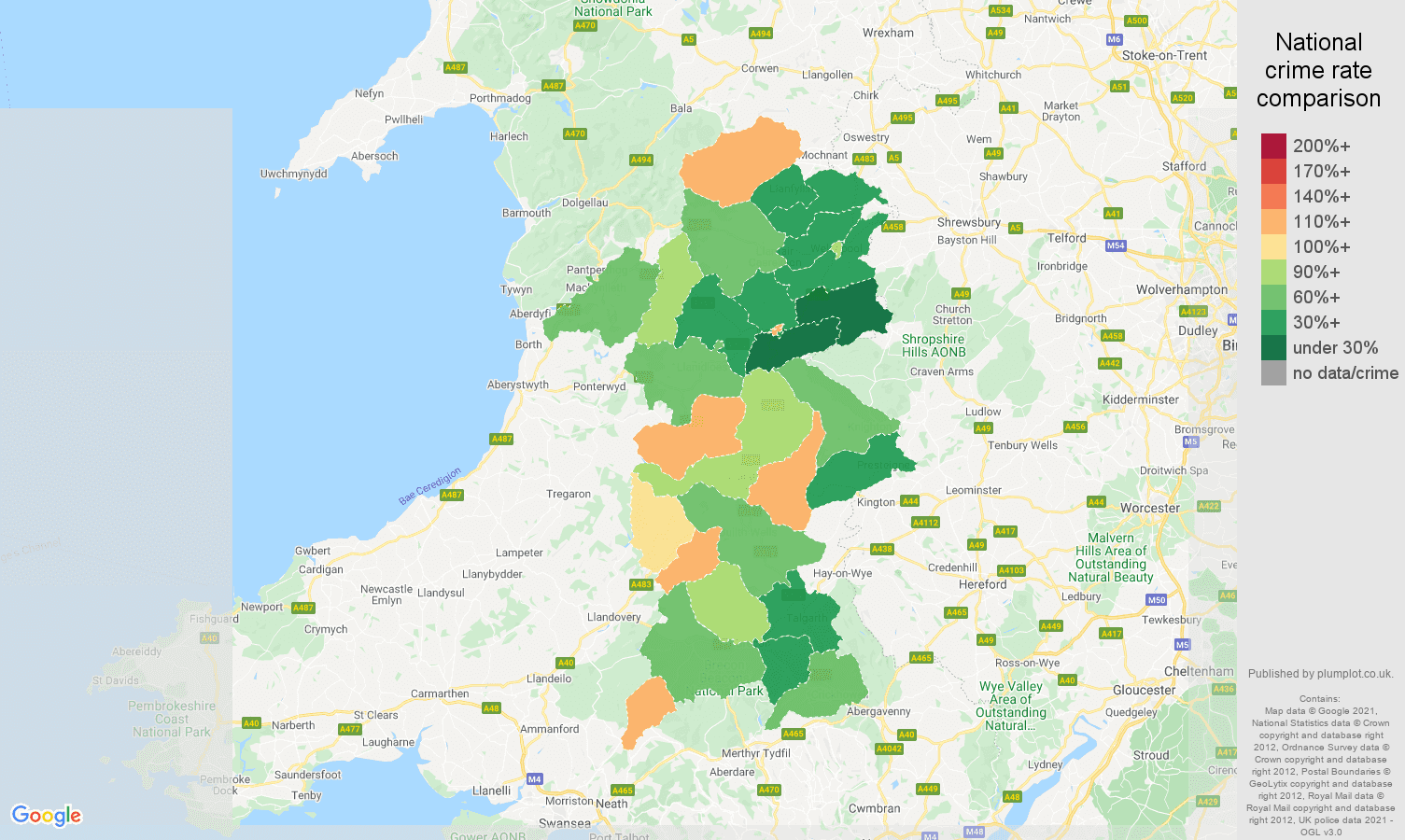 Powys antisocial behaviour crime rate comparison map