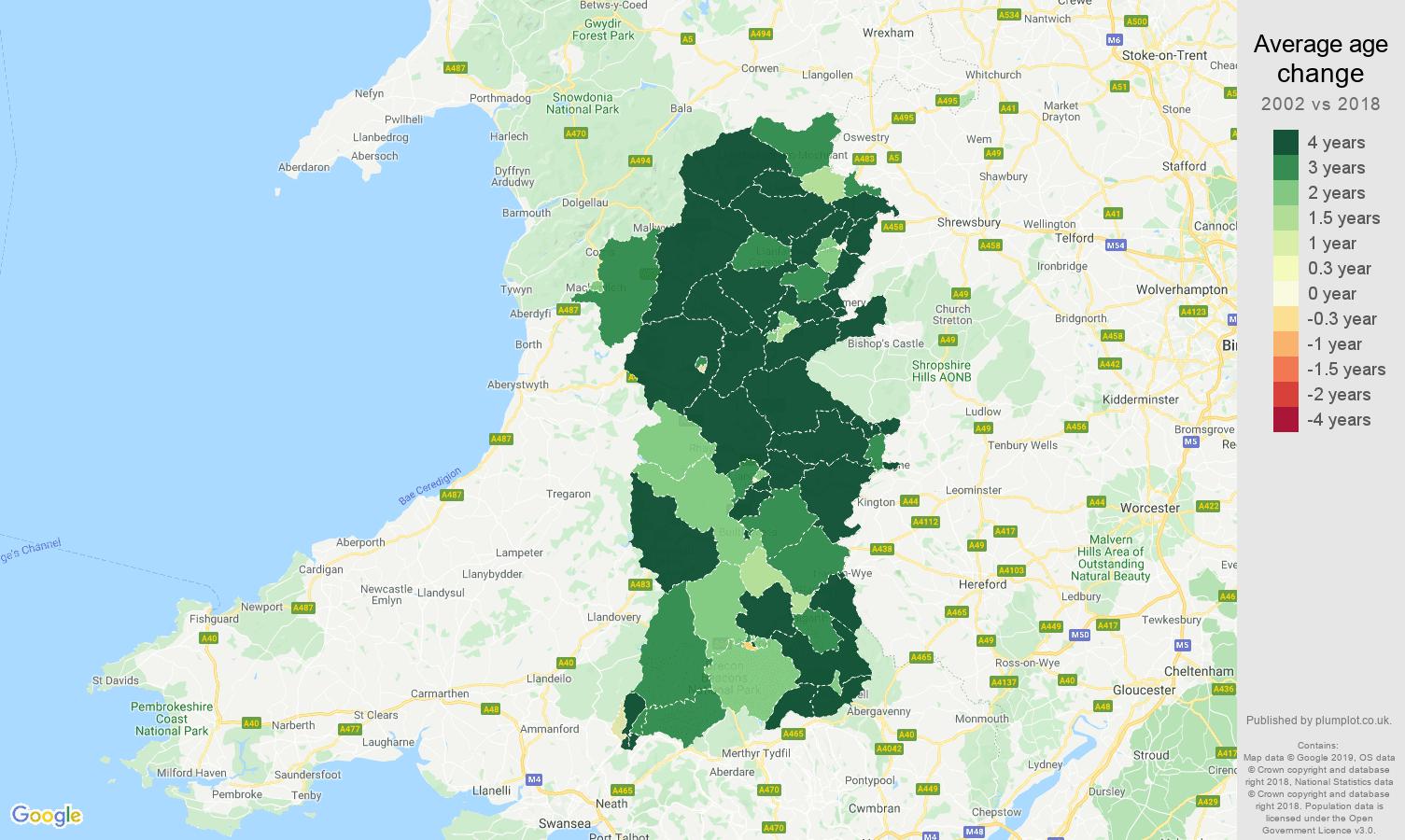 Powys average age change map