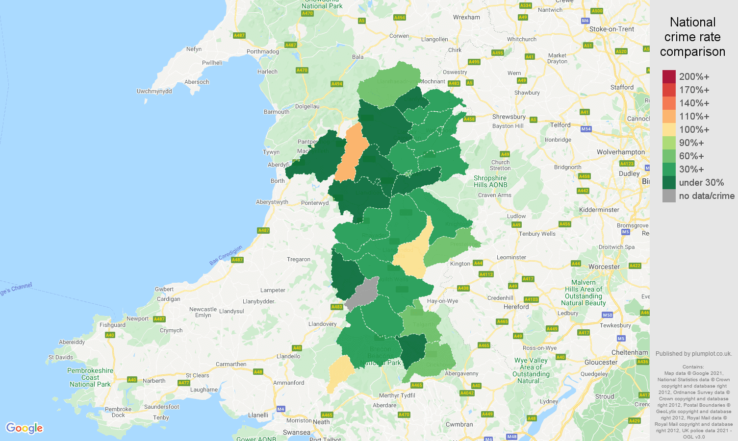 Powys burglary crime rate comparison map