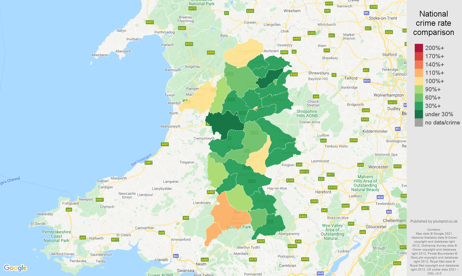 Powys criminal damage and arson crime rate comparison map