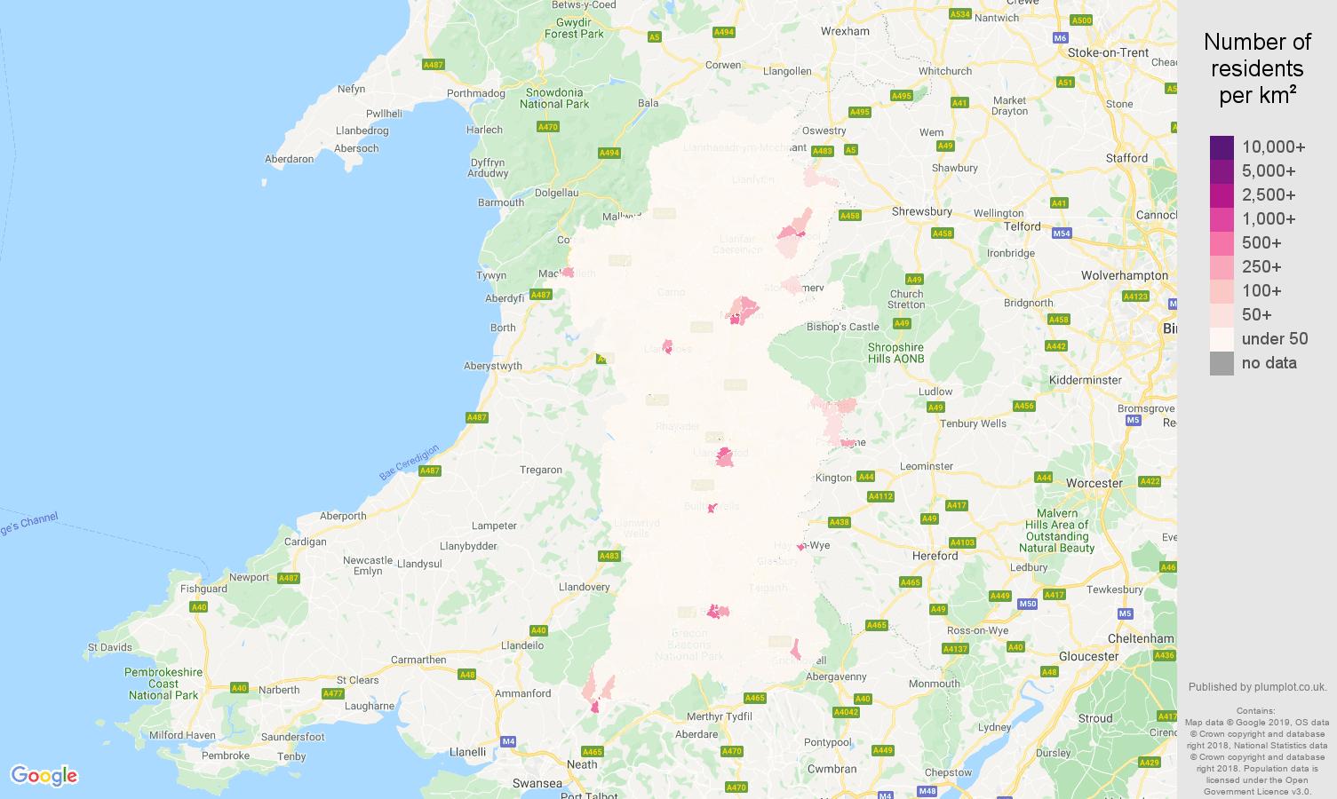 Powys population density map