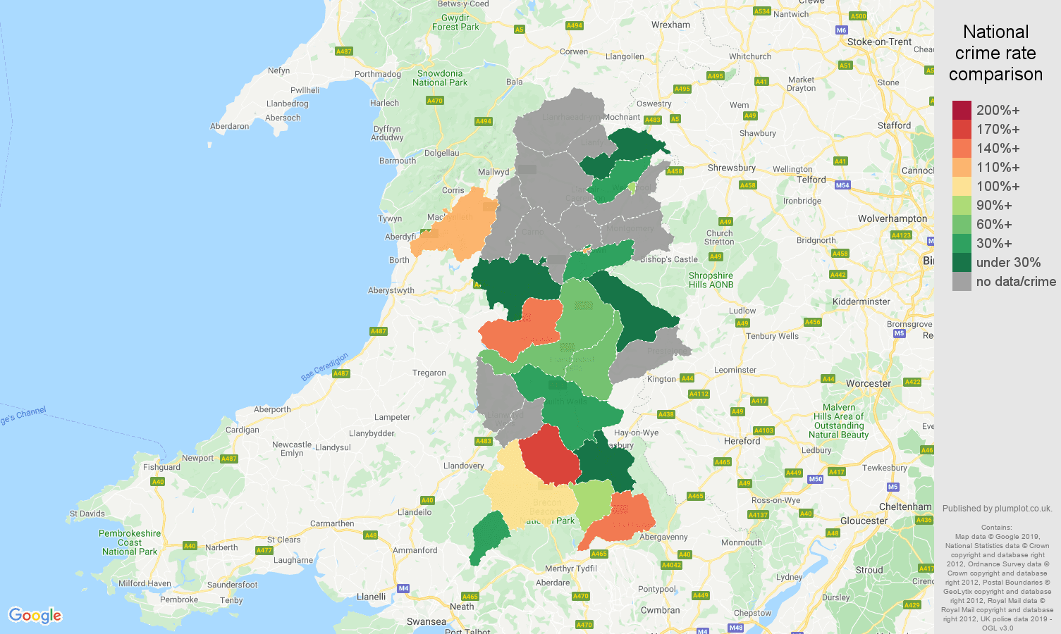 Powys possession of weapons crime rate comparison map