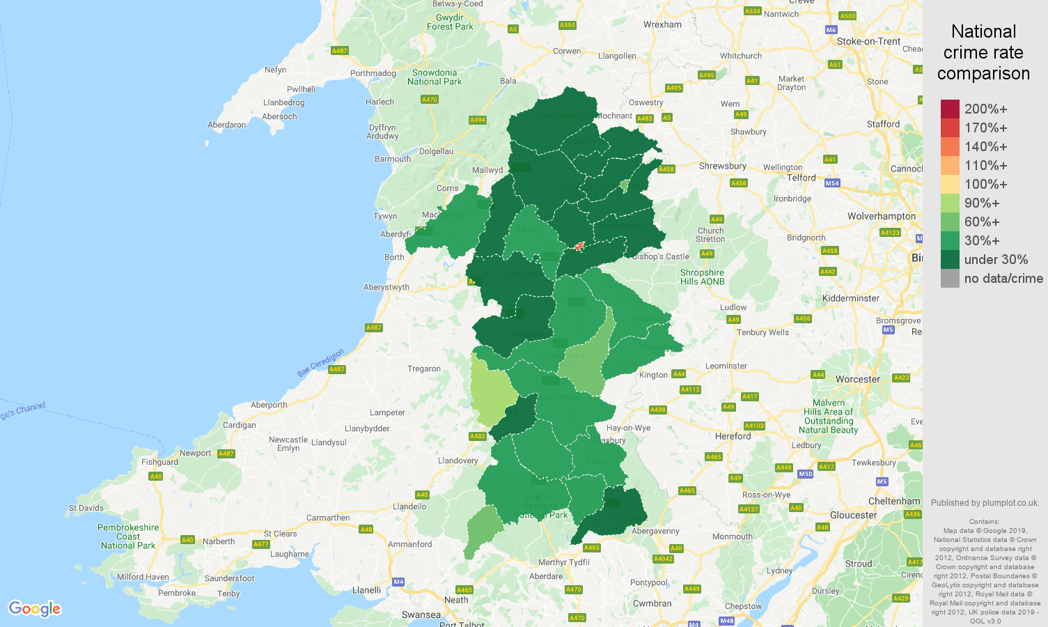 Powys public order crime rate comparison map