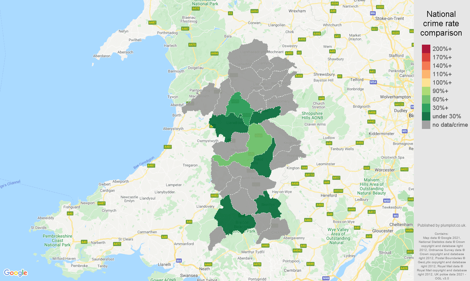 Powys robbery crime rate comparison map