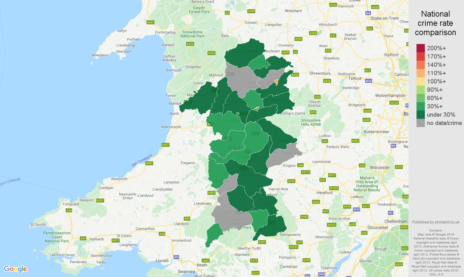 Powys shoplifting crime rate comparison map